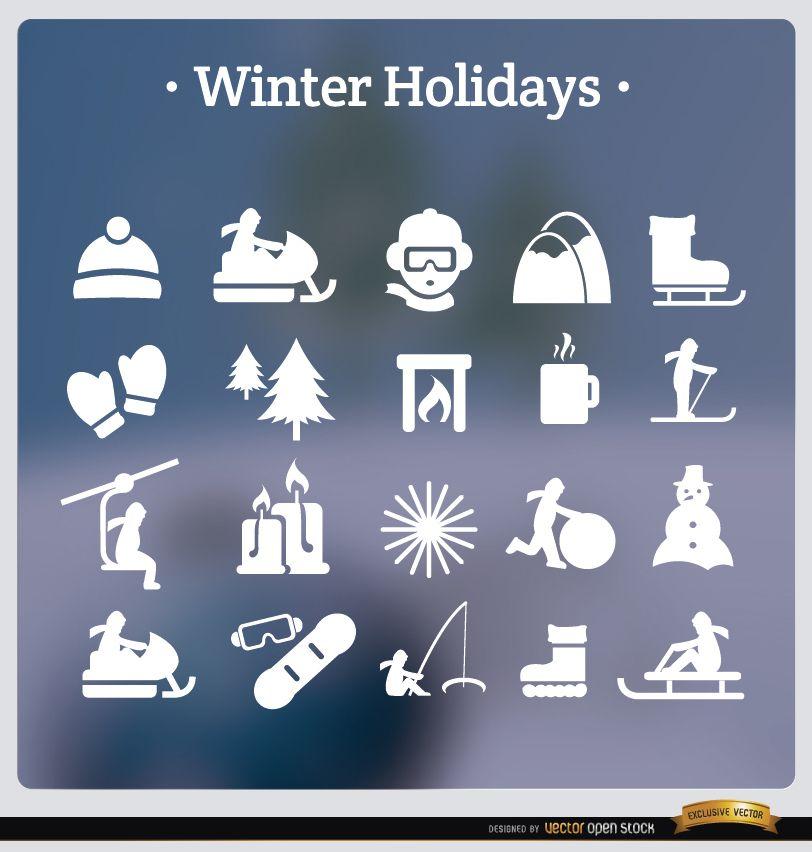 20 winter holidays white icons