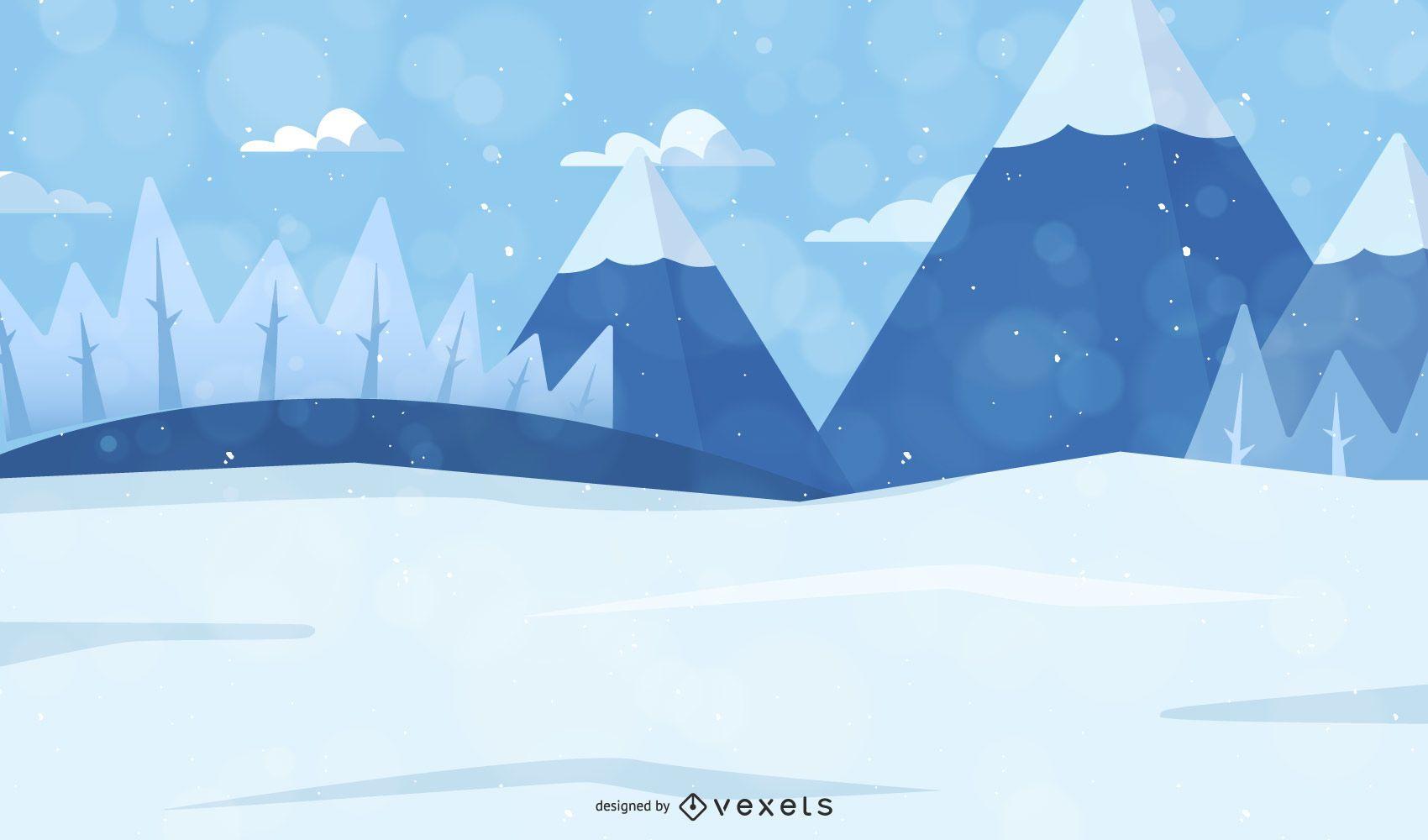 Árvores de Natal em paisagem de inverno com neve