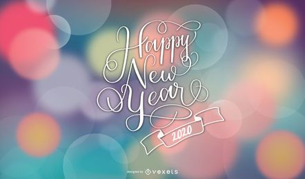 Neujahrsgrüße auf glänzendem buntem Bokeh-Hintergrund