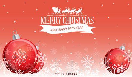 Bolas de Natal brilhantes com flocos de neve