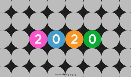 2020 dentro de círculos separados coloridos