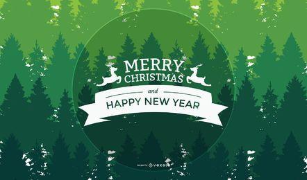 Saudação de Natal e Ano Novo em fundo de árvores verdes