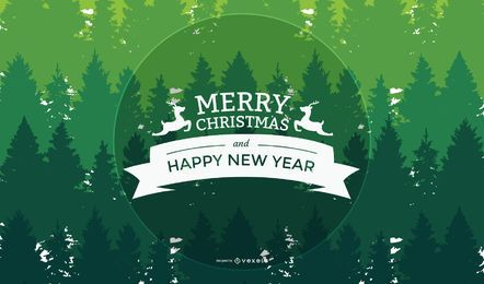 Xmas & New Year Greeting on Green Trees Background
