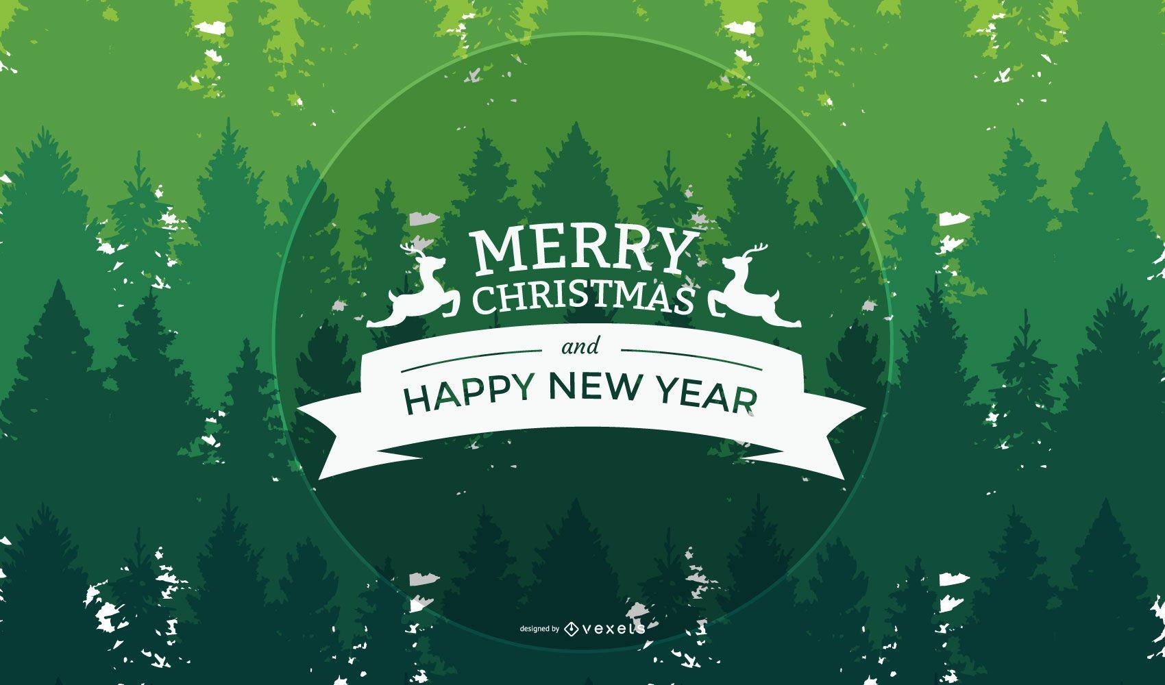 Saludo de Navidad y año nuevo sobre fondo de árboles verdes