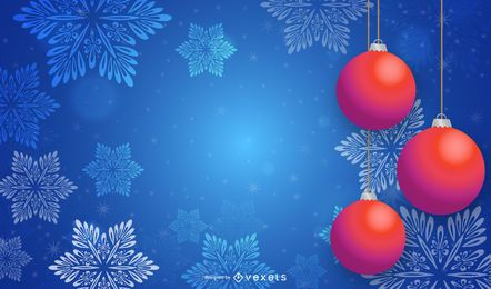 Chucherías rojas 3d que cuelgan en el fondo de los copos de nieve