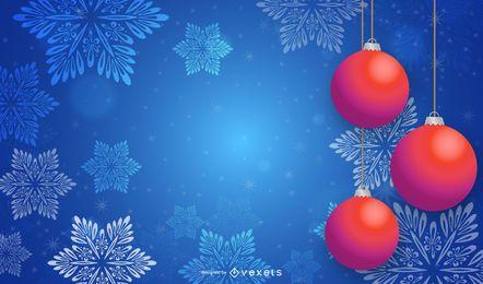 Roter Flitter 3D, der an Schneeflocken-Hintergrund hängt