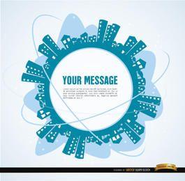 Ciudad alrededor del círculo de mensajes