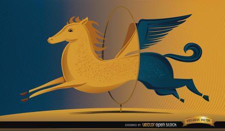 Pegasus, pular, círculo, mudança