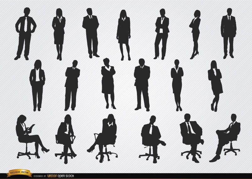 Standing sitting executive men women