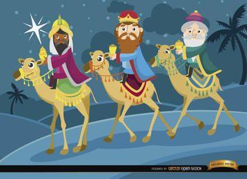 Drei Weise reisen Kamele an