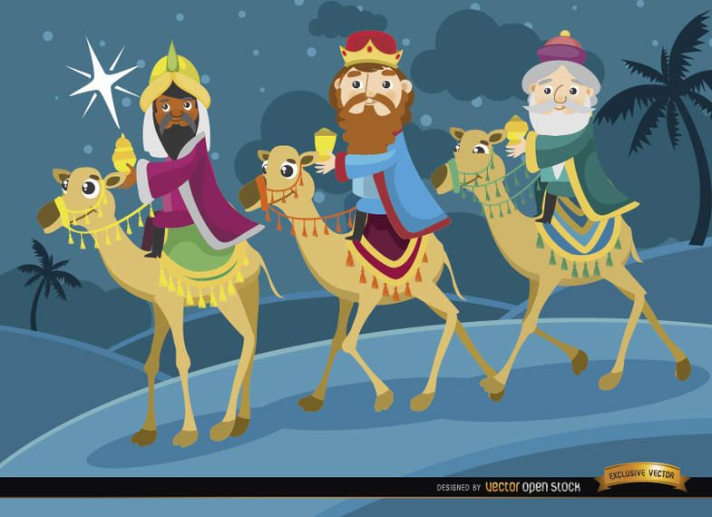 Three wise men journey camels
