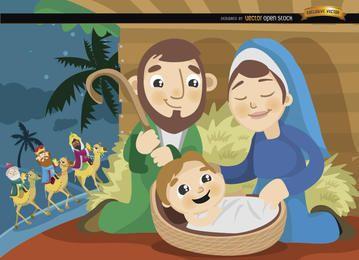 Desenho animado de Joseph Mary Jesus Wise men