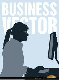 Executiva, trabalhando, computador