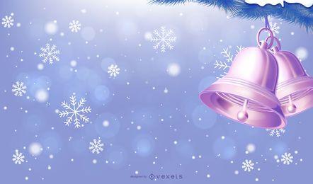 Fundo de Natal azul com floco de neve e bijuteria
