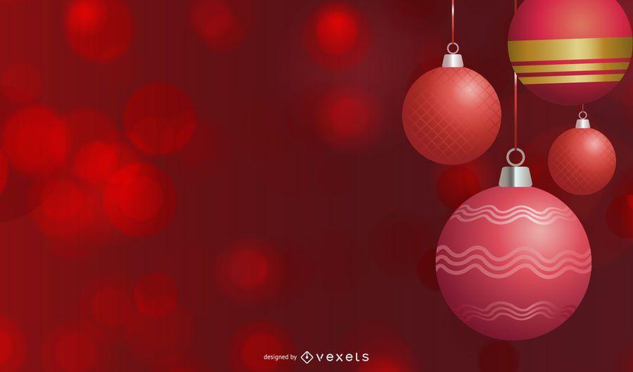 Bolas de Natal vermelhas sobre fundo claro de Bokeh