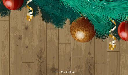 Modelo de plano de fundo de árvores de Natal de quadro de coroa de flores
