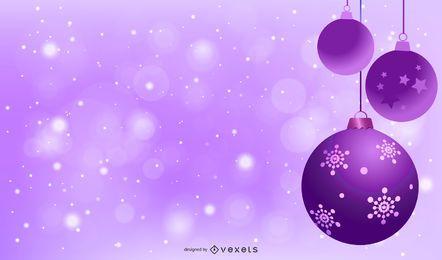 Fundo de Natal roxo com decoração de ornamento