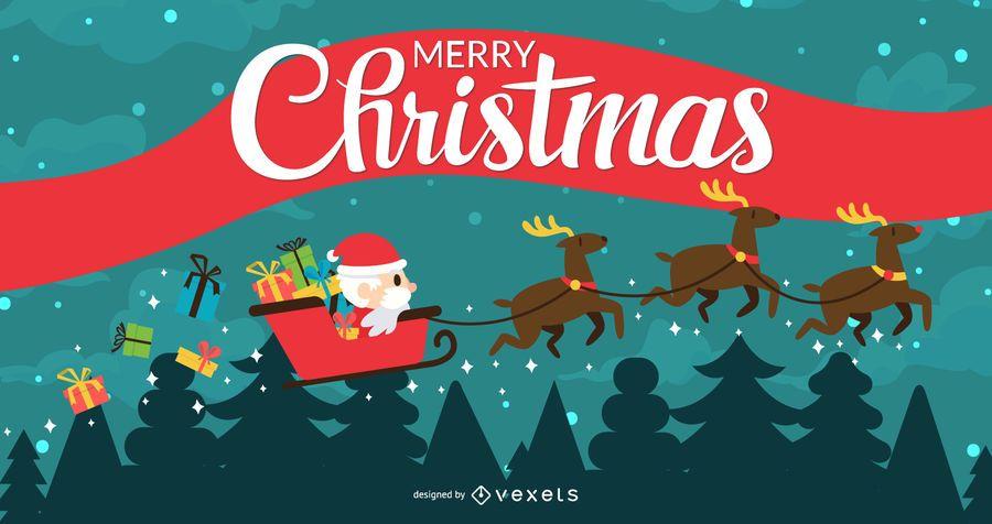 Banner de cinta plana debajo de árboles de Navidad
