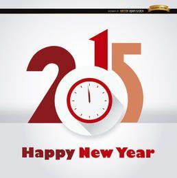 Fundo de ano novo de relógio de 2015