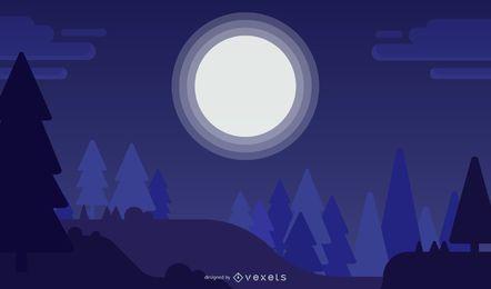 Luna de Navidad en el fondo de la noche