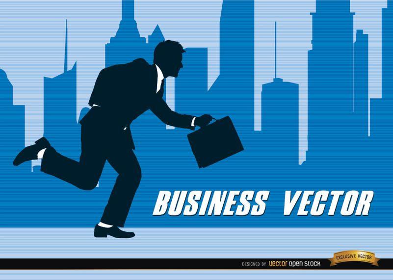 Ciudad de negocios silueta corriendo