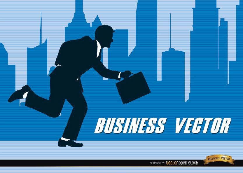 Businessman silhouette running city