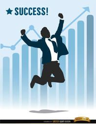 Businessman jumping success chart