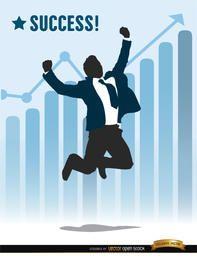 Empresário pulando gráfico de sucesso