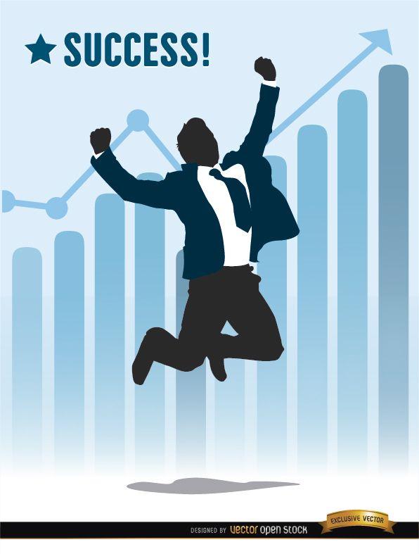 Businessman jumping success