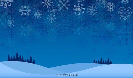 Copos de nieve brillantes en el cielo azul de medianoche