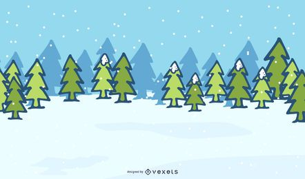 Xmas Trees on Snowy Landscape Background