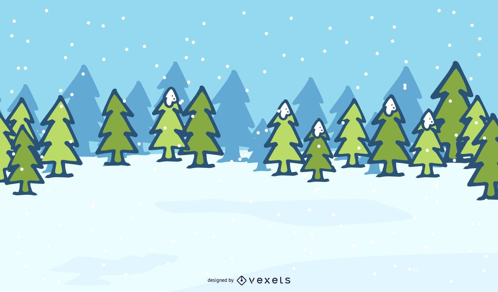 Xmas Trees on Snowy Landscape Background