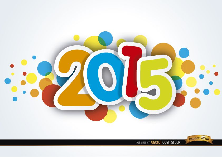 2015 new year colored spots