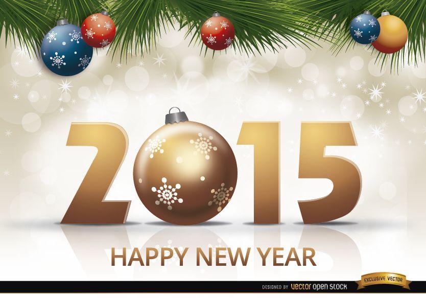 2015 new year balls pine leaves