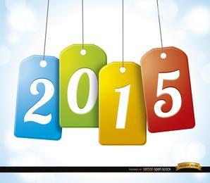 2015 pendurado fundo de cartões de marca