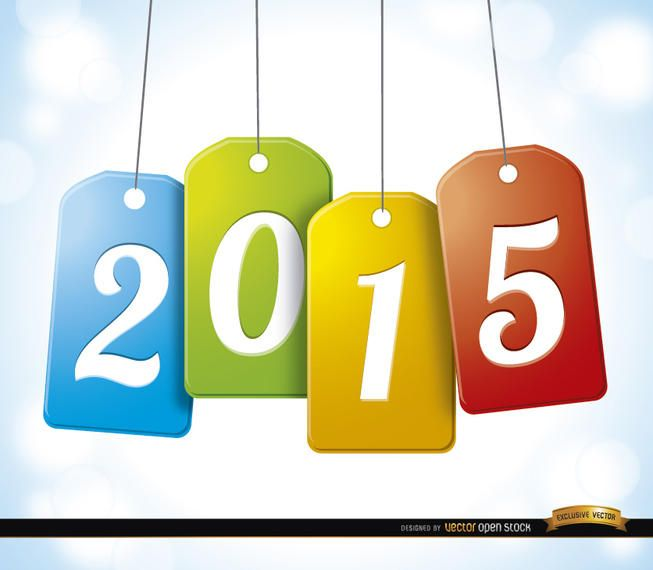 2015 colgando tarjetas de etiqueta de fondo