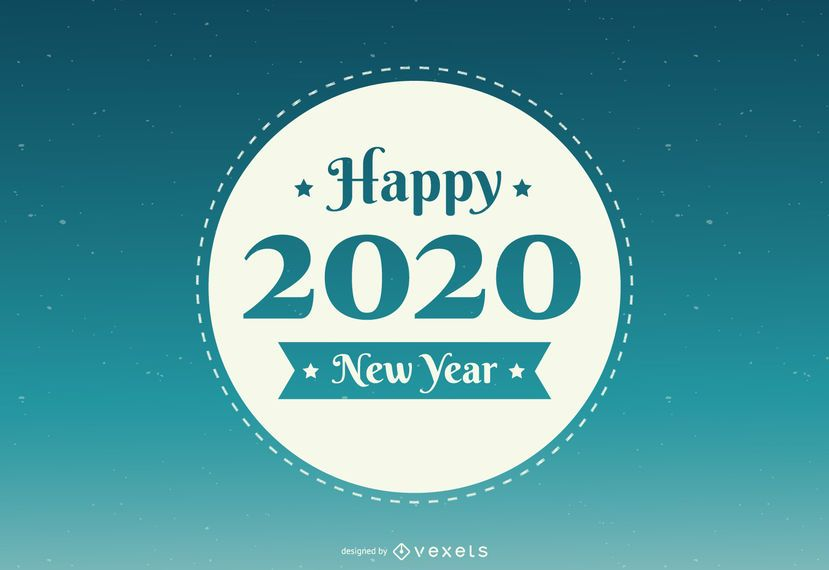 Emblema Redondo do Ano Novo 2020