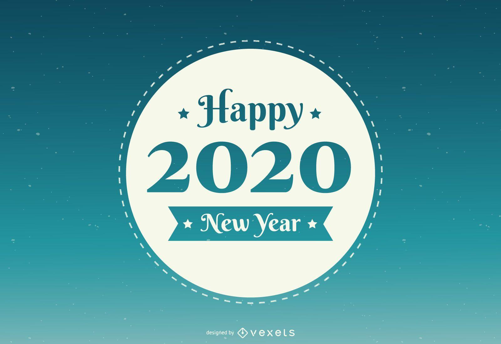 Insignia redonda de año nuevo 2020