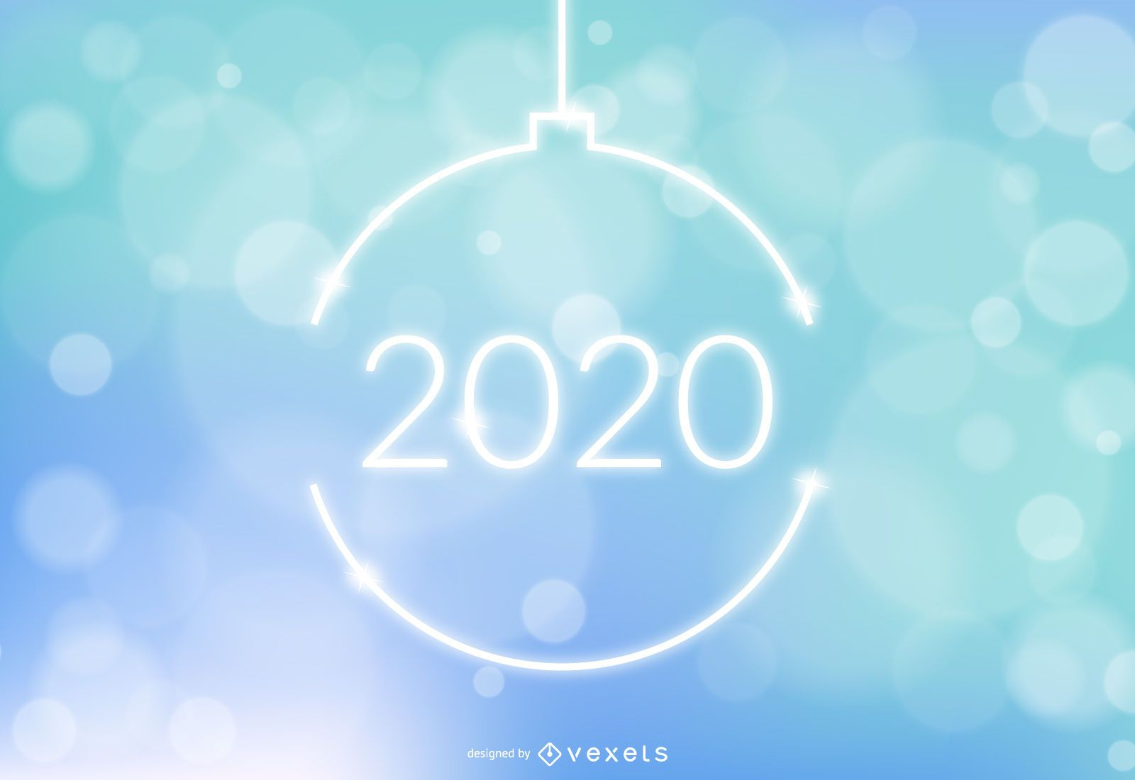 New Year Ball on Colorful Bokeh Background
