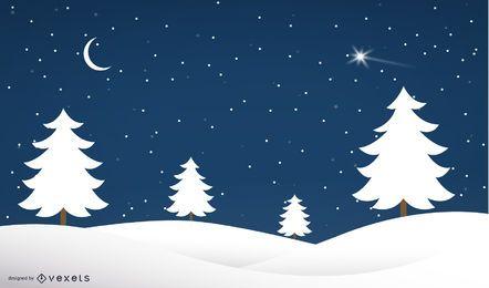 Winter Night Xmas Trees on Snowy Landscape