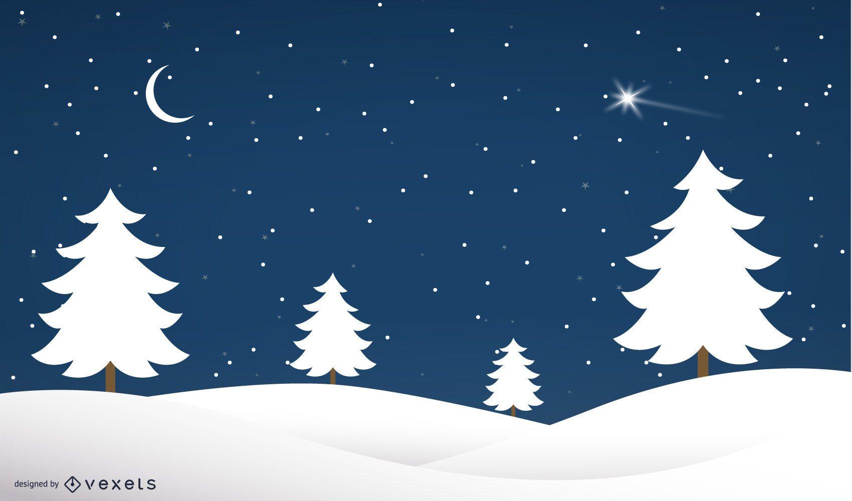 Árvores de Natal de noite de inverno em paisagem de neve