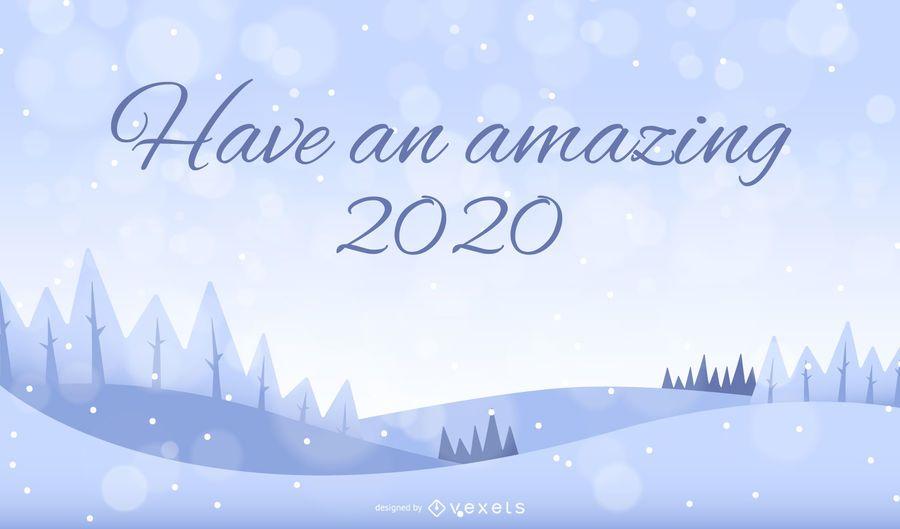 Fondo de paisaje de nieve 2020