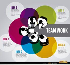 Infografia de trabalho em equipe de negócios