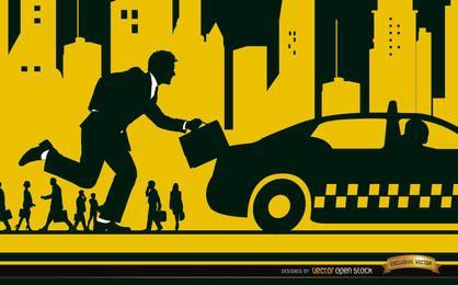 Ejecutiva de taxi en la ciudad.