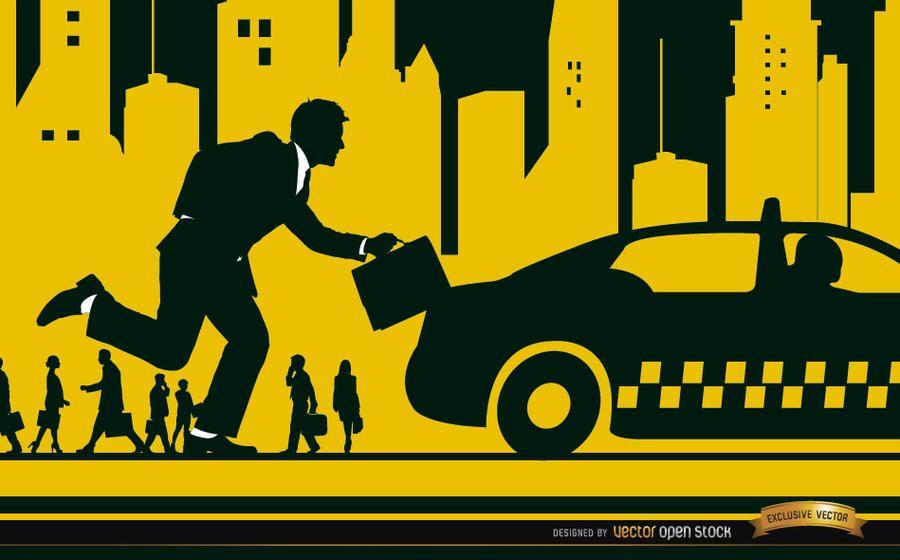 Ejecutivo ejecutando taxi en la ciudad.