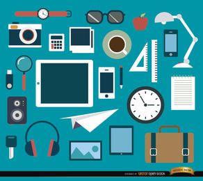 25 objetos de oficina y conjunto de elementos.