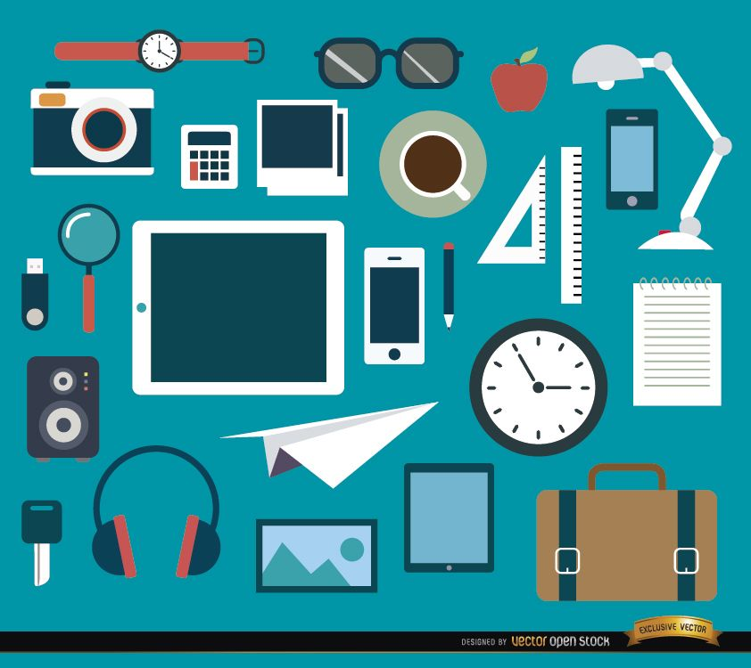 Conjunto de 25 objetos e elementos de escritório