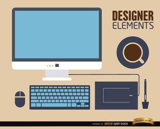 Elementos de trabalho da mesa do computador