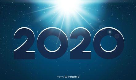Año nuevo 2020 sobre fondo de noche brillante