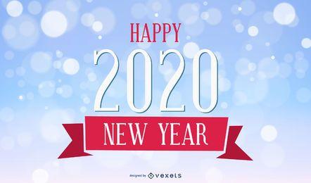 2020 Vintage Neujahrskarte auf Bokeh Hintergrund